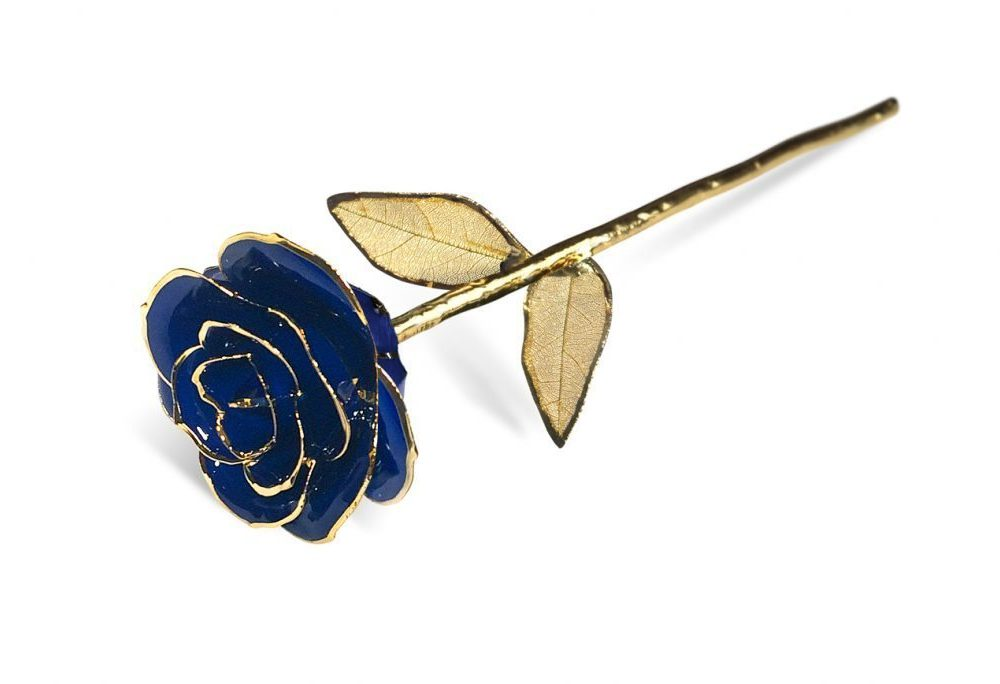 Blue Gold Leaf withouDisplay Case - Infinity Rose
