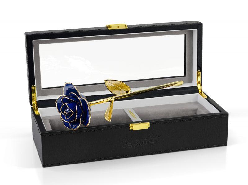 blue gold leaf rose gift