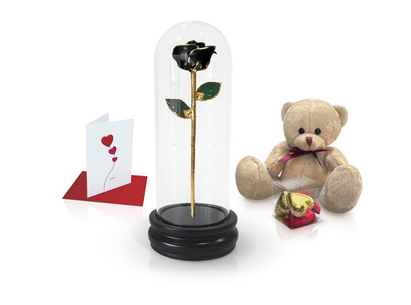 black rose dome gift