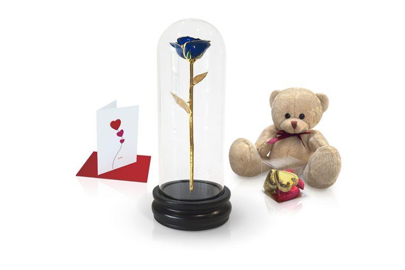 blue gold leaf rose dome gift