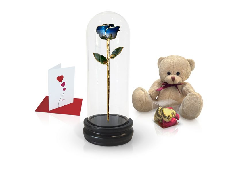 dark blue two tone rose dome gift