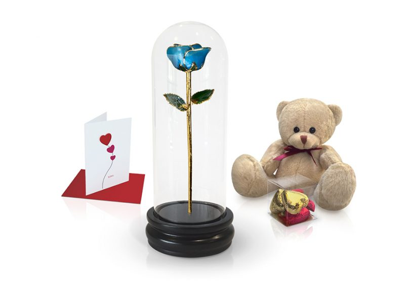 light blue rose dome gift