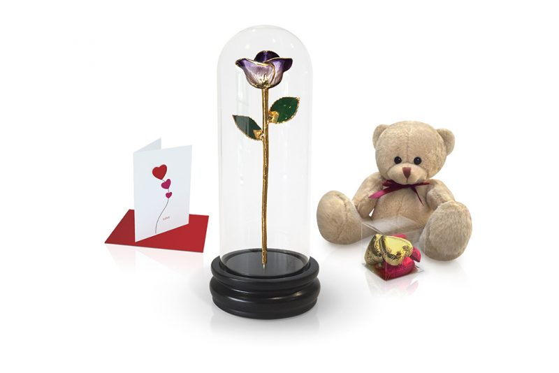 purple two tone rose dome gift