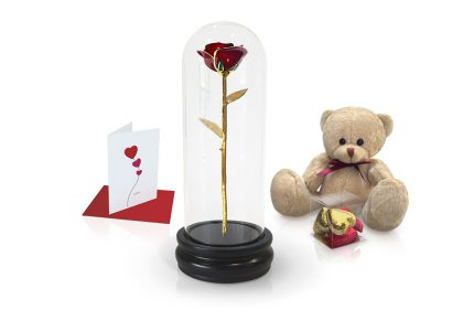 red gold leaf dome rose gift