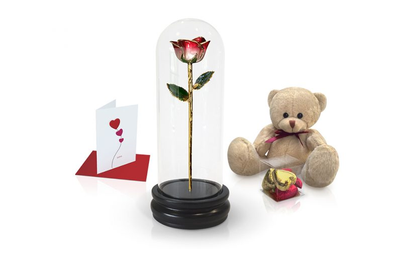 red two tone rose dome gift