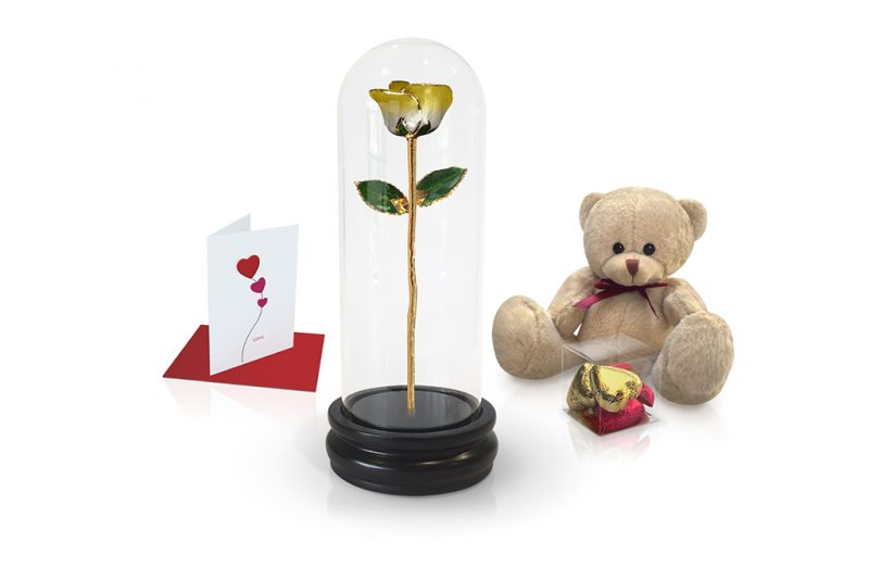 yellow two tone rose dome gift