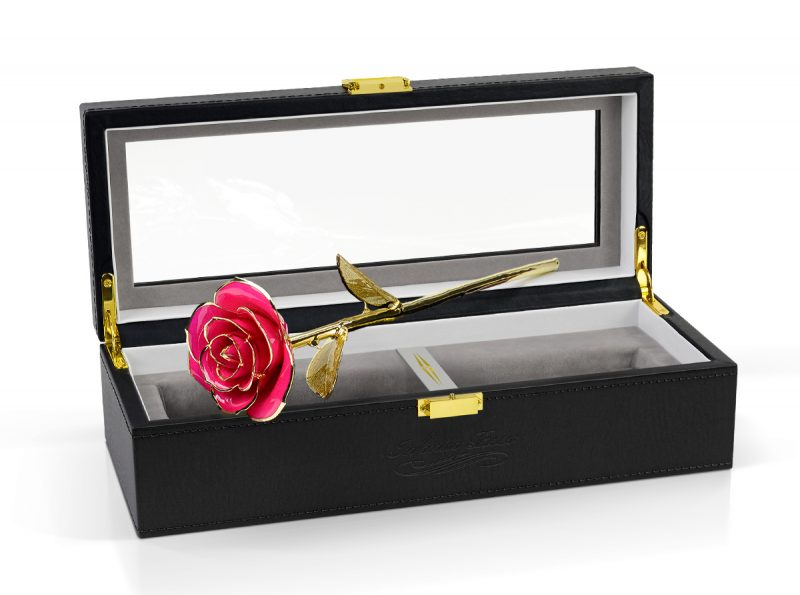 pink gold leaf rose gift