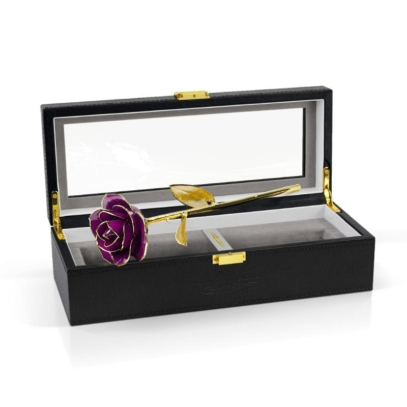 purple gold leaf rose gift