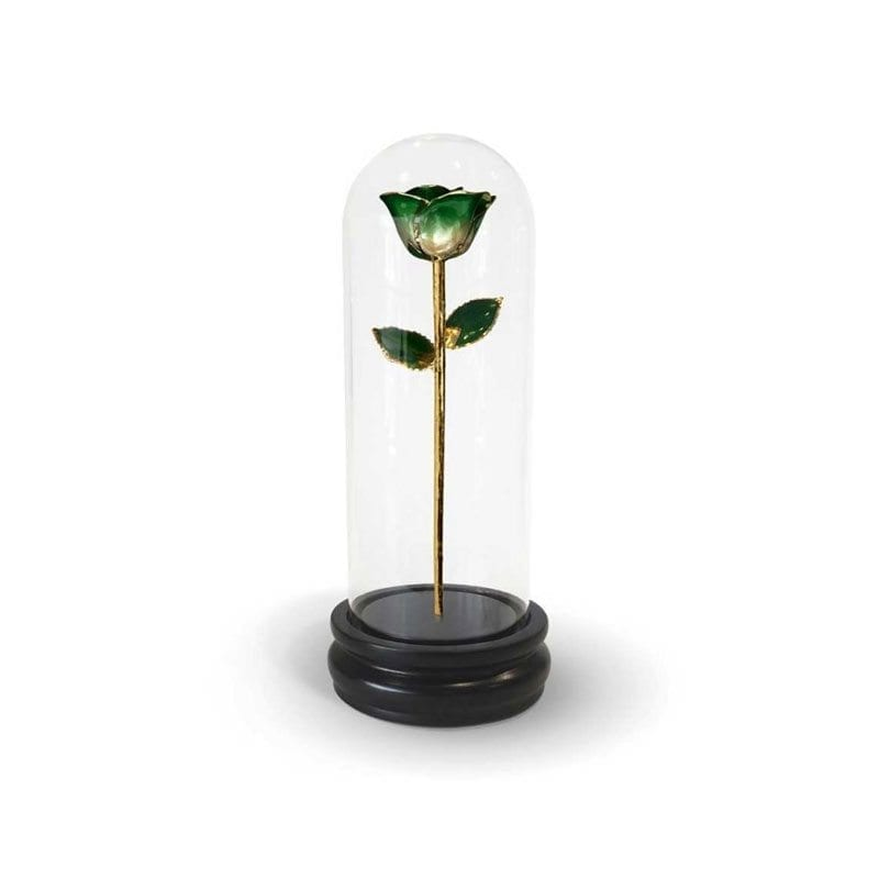Dark Green Two Tone Rose with Premium Glass Dome - Infinity Rose
