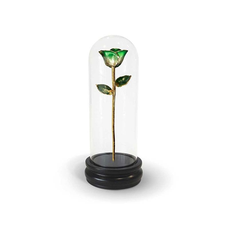Green Two Tone Rose Gift with Premium Glass Dome - Infinity Rose
