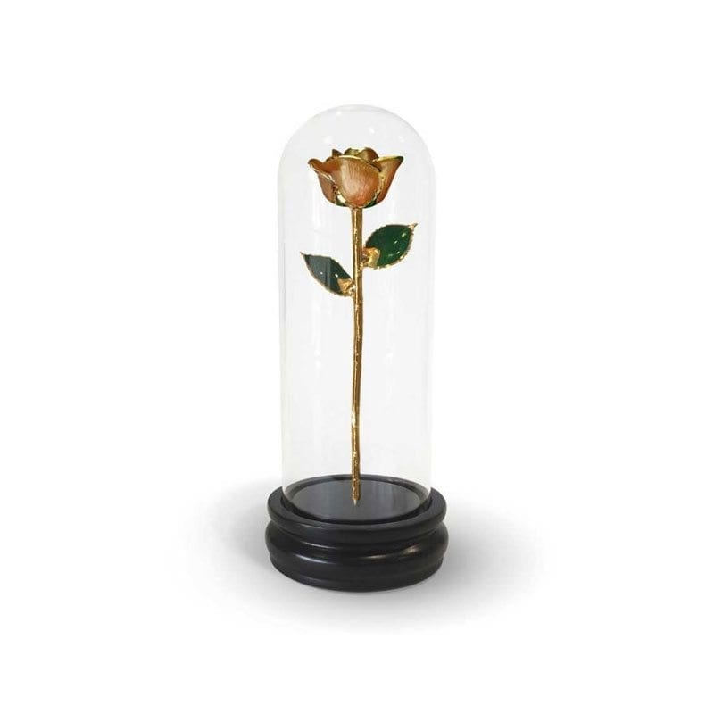 Orange Premium Rose with Premium Glass Dome - Infinity Rose