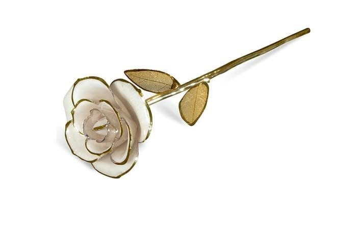 White Gold Leaf Gift without Premium Display Case - Infinity Rose