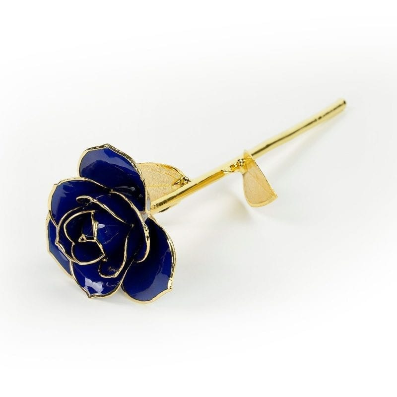 blue gold leaf rose gift