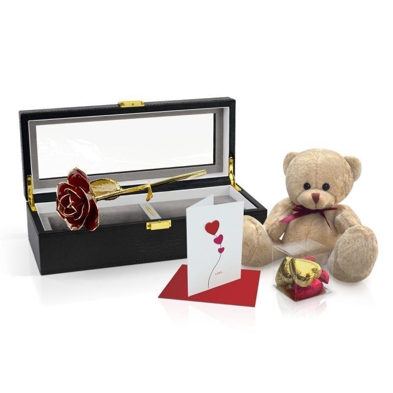 red gold leaf rose gift
