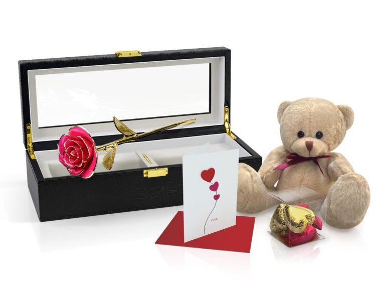 pink gold leaf rose gift