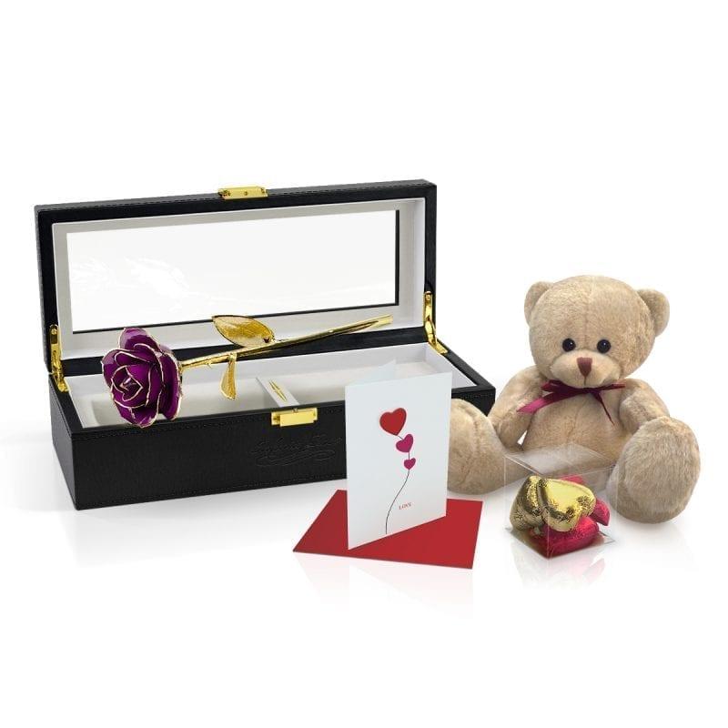 purple gold leaf rose gift