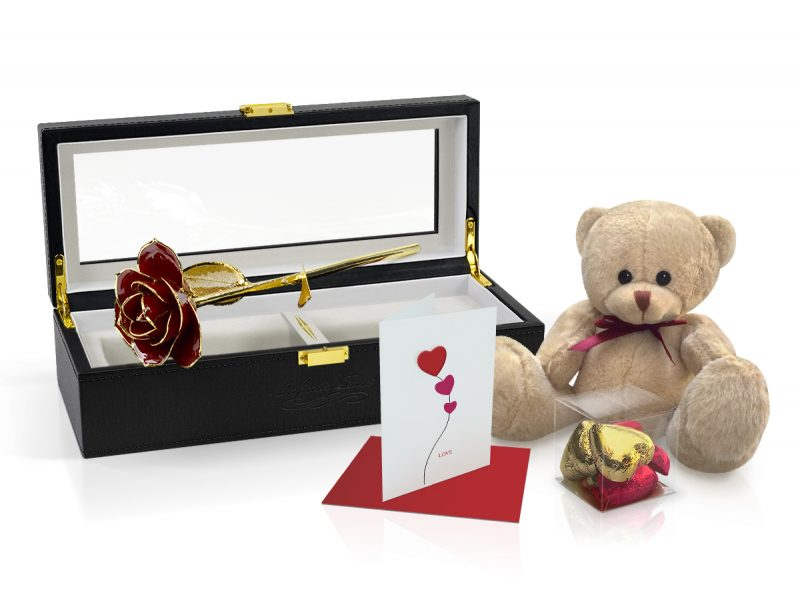 red gold leaf rose gift